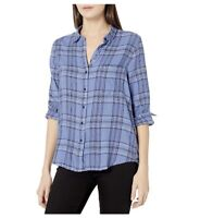 Lucky Brand Womens Classic One Pocket Plaid Shirt Button Front Blue Sz