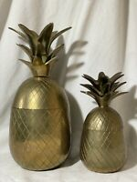 """2 Vintage Solid Brass Pineapple Jar Container Canister w/ Lid 9 1/2"""" Tall India"""