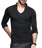 Mens V-neck Long sleeve Thin Fashion Elasticity Lycra Cotton T-shirts Mens M-XXL