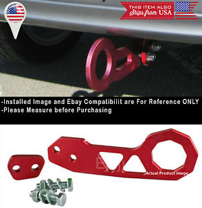 Aluminum Anodized Billet Red Rear Bumper Tow Hook Towing Kit For Subaru Mazda