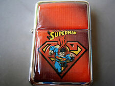 SUPERMAN SUPERHERO RED CAPE COMIC STAR BRAND LIGHTER STEEL & EXTRA ZIPPO FLINTS