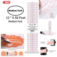 "Vinyl Transfer Paper Tape Roll 12"" x 50 FT Clear w/Red Alignment Grid 