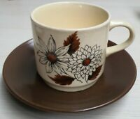 Vintage Johnson Bros Retro Pottery Russett Pattern Cup & Saucer c1957-60s