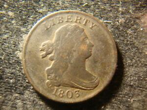1803 VF  Draped Bust Half Cent Choice  Coin FBZ