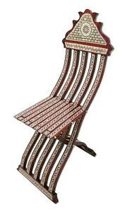 W154 BR Stunning Mother of Pearl Inlaid Folding Wood Brown Moroccan Chair