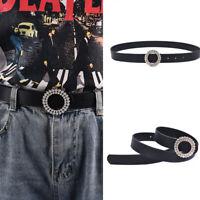 Women Round Crystal Buckle Leather Waist Belt Women Jeans Fashion Waistb lqFSHW