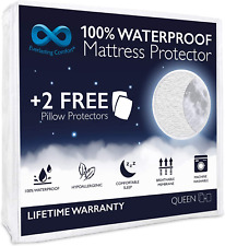 Mattress Protector with 2 Pillow Protectors Waterproof Queen Machine Washable