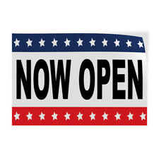 Decal Stickers Now Open Black Red Blue Vinyl Store Sign Label Business