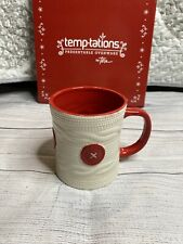 Temptations Red White Cable Knit Sweater Mug