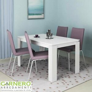 Tavolo allungabile moderno bianco lucido ATENA cucina sala da pranzo design