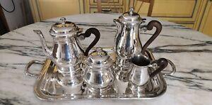 Ancien service à café thé en métal argenté 5 pièces ,Christofle ?, à déterminer