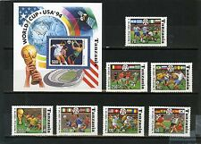 TANZANIA 1994 SOCCER WORLD CUP USA SET OF 7 STAMPS & S/S MNH