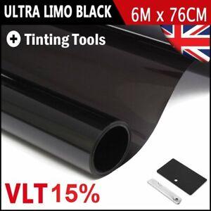 PRO DARK BLACK 15% CAR WINDOW TINT ROLL 6m x 76 cm FILM TINTING New
