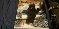 Hand made  Welcome  Sign Wooden painting of a Bear