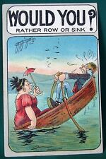 Would You Rather Row or Sink?  1910 Albert Carmichael postcard