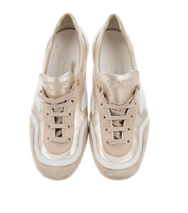 Designer Sneakers, TOD'S, Gold & White Leather, size 38 EUR / 8 US (was $865)