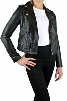 Womens MAJE Paris Classic Black Leather Zip Up Ladies Designer Biker Jacket