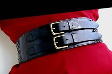 NEW-Linea Pelle WIDE CORSET BRAIDED Leather SOLID BRASS W BUCKLE Belt- HAND MADE