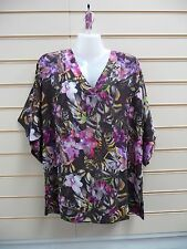 LADIES TOP MULTI SIZE 10 SUMMER TOGETHER TUNIC FLORAL PRINT (G021