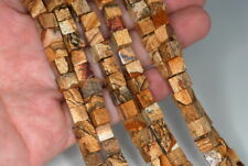 6-7MM PICTURE JASPER GEMSTONE SQUARE CUBE LOOSE BEADS 7.5""