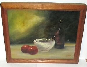 R. GAREY ORIGINAL OIL ON BOARD FRUIT AND WINE PAINTING