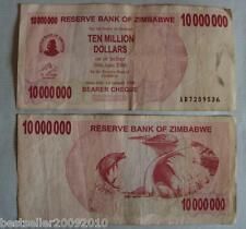 ZIMBABWE 10 MILLION DOLLAR RARE OLD BANK NOTE WITH SOME WEAR AND TEAR # 277