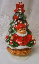 Vintage Ceramic Rotating CHRISTMAS TREE MUSIC Box Pixie Candy Cane