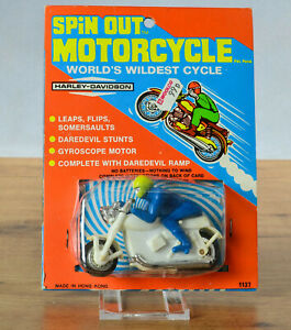 #Antique Plastic Toy# Hong Kong Harley Davidson Worlds Wildest Race Motorcycle