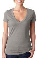 Next Level Women's Rib Knit CVC Deep V Neck Extreme Soft T-Shirt, 10-Pack. 6640