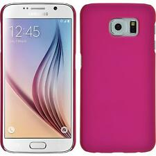 Hardcase Samsung Galaxy S6 rubberized hot pink Cover + protective foils
