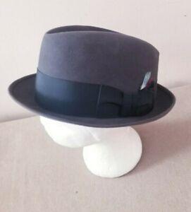 Vintage Dobbs Hat, Gray Fur Felt Fedora w/Black Ribbon/Feather Sz 7 & 5/8