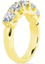 "2.01 ct Round Diamond Band Wedding Anniversary ""U"" Ring 14k Yellow Gold 5 x 0.40"