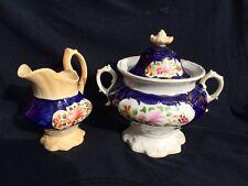 19th Century Gaudy Welsh porcelain sugar bowl and milk jug