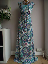 MONSOON TEAL GREEN BLUE PURPLE NUDE CREAM MAXI SUMMER HOLIDAY CRUISE DRESS 20