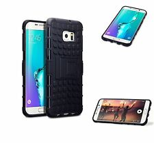 For Samsung Galaxy S6 Edge Plus Rugged Tough Rubberised Hard Back Case - Black