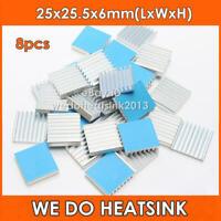 WE DO HEATSINK 8pcs Aluminum 25x25.5x6mm Heat Sinks With Thermal Pad Stick