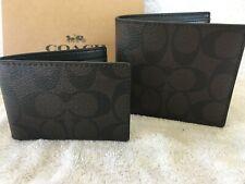 Coach Signature Compact ID PVC Wallet Mens - Mahogany/Brown - #F74993 - NWT $175