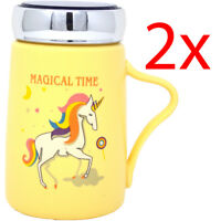 2 X YELLOW CERAMIC MUG MAGICAL TIME UNICORN COFFEE CUP NOVELTY GIFT LID 13CM