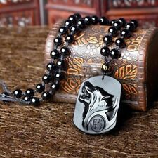Fashion Mens Black Obsidian Wolf Head Amulet Pendant Bead Chain Charms Necklace
