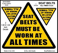 4 Inch, Seat Belts, Wear All Times, Safety Decal Stickers. 3 Count, 2 Sizes.