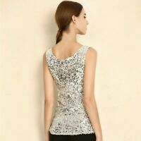 Women Full Sequin Vest Tank Tops Camisole Glitter Bling Sleeveless T Shirt Shiny