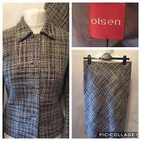 OLSEN Ladies Wool & Silk Blend Suit With Midi Skirt (Size 14) Jacket (Size 10)