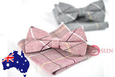 MENS BOW TIE AND POCKET SQUARE Hanky Handkerchief Wedding Party Grey / Red