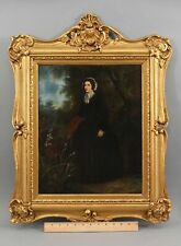 Antique WILLIAM POWELL FRITH Portrait Oil Painting Countess & Actress Gilt Frame