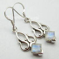 "925 Sterling Silver Earrings Pair !! SQUARE RAINBOW MOONSTONE ART Jewelry 1.5"""