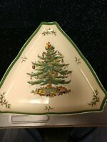 """SPODE CHRISTMAS TREE TRIANGLE SHAPED LARGE 12""""  SERVING TRAY NUT CANDY BOWL DISH"""