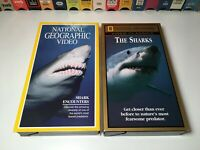 National Geographic Shark Documentary VHS Lot of 2 Shark Encounters & The Sharks