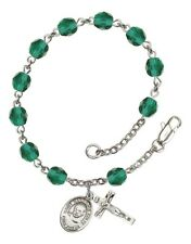 December Birth Month Bead Rosary Bracelet w/ St Maximilian Kolbe Petite Charm