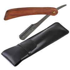 Rosewood Handle Straight Edge Barber Razor Folding Shaving Knife & Leather Case