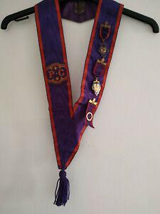 13513)P.G. Lodge masons collar *purple/red* 3 medals inc Manc Unity Bro C W Ward
